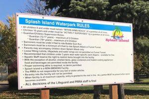splash list of rules sign